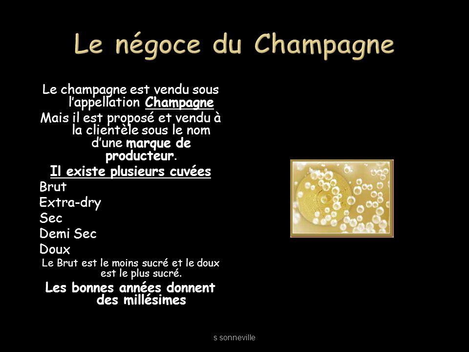 Le champagne est vendu sous lappellation Champagne Mais il est proposé et vendu à la clientèle sous le nom dune marque de producteur. Il existe plusie