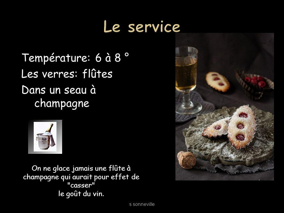 Température: 6 à 8 ° Les verres: flûtes Dans un seau à champagne s sonneville On ne glace jamais une flûte à champagne qui aurait pour effet de