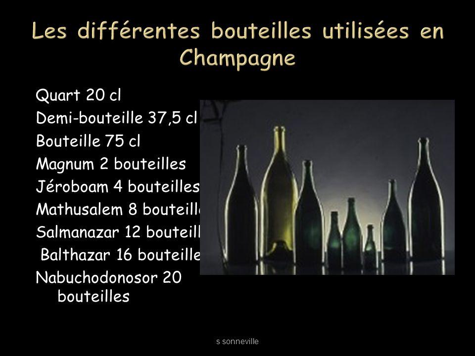 Quart 20 cl Demi-bouteille 37,5 cl Bouteille 75 cl Magnum 2 bouteilles Jéroboam 4 bouteilles Mathusalem 8 bouteilles Salmanazar 12 bouteilles Balthaza
