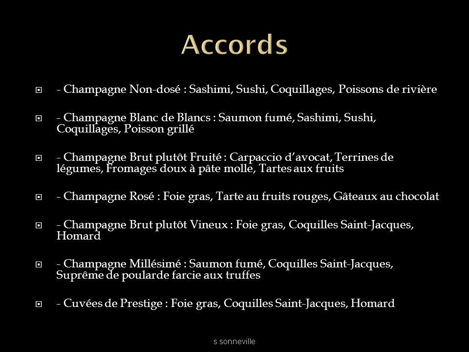 - Champagne Non-dosé : Sashimi, Sushi, Coquillages, Poissons de rivière - Champagne Blanc de Blancs : Saumon fumé, Sashimi, Sushi, Coquillages, Poisso