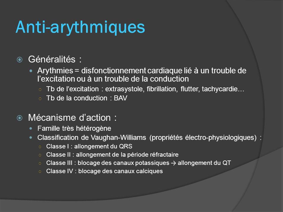 Produits : Classe I (Ia, Ib, Ic) : Hydroquine (Sérécor®), Disopyramide (Rythmodan®), Lidocaïne (Xylocard®), Flécaïnide (Flécaïne®)… Classe III : Amiodarone (Cordarone®) Indications : Troubles du rythme Propres à chaque molécule Amiodarone : VO : fibrillatiion ventriculaire, tachycardie ventriculaire et supraventriculaire Injectable : trouble du rythme grave