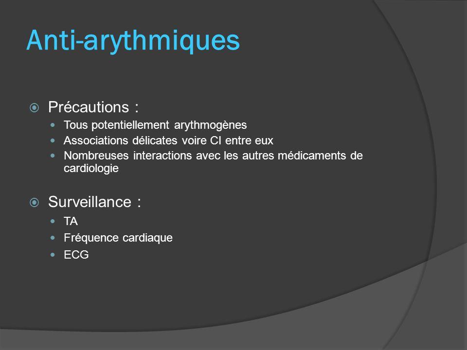Amiodarone Administration : IVD déconseillée, temps > 3 min Perfusion : G5% Effets indésirables : Photosensibilisation +++ Thyroïdiens : dysthyroïdie (hyperthyroïdie arrêt) Dépôts cornéens, avec ou sans halo coloré, réversibles à larrêt Pneumopathies interstitielles Surveillance : Bilan thyroïdien préalable puis TSH 2x/an Radio pulmonaire préalable puis 1x/an Cardio-vasculaire Oculaire