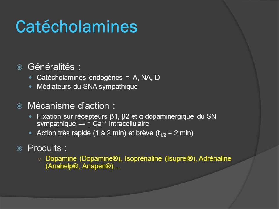 Indications : Troubles hémodynamiques lors détat de choc Syndrome de bas débit cardiaque IC aiguë Adrénaline : tt de référence du choc anaphylactique, du choc allergique grave, de larrêt cardiorespiratoire Effets indésirables : Pertes hydro-électriques (eau, sodium) Tachyphylaxie (tolérance avec perte defficacité du produit)