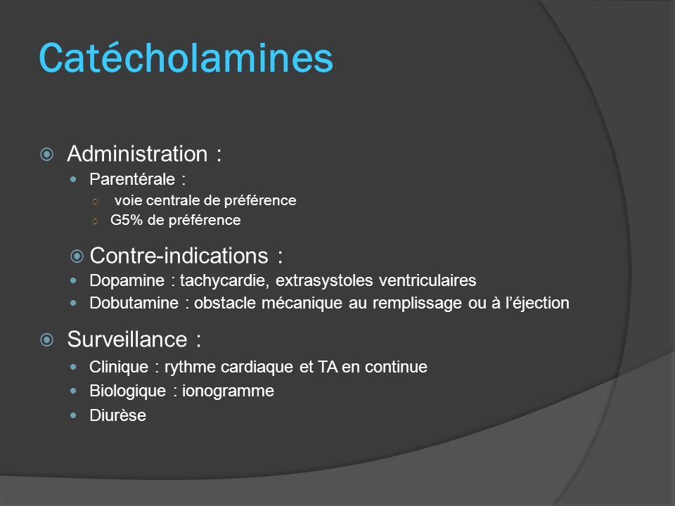 Mécanisme daction : Cardiotoniques Produits : Enoximone (Perfane®), Milrinone (Corotrope®) Indications : Ttt à court terme de lIC aiguë Administration : Parentérale Surveillance : Clinique : monitoring Biologique : équilibre hydro-électrique, transaminases, Pq Inhibiteurs de la phosphodiestérase