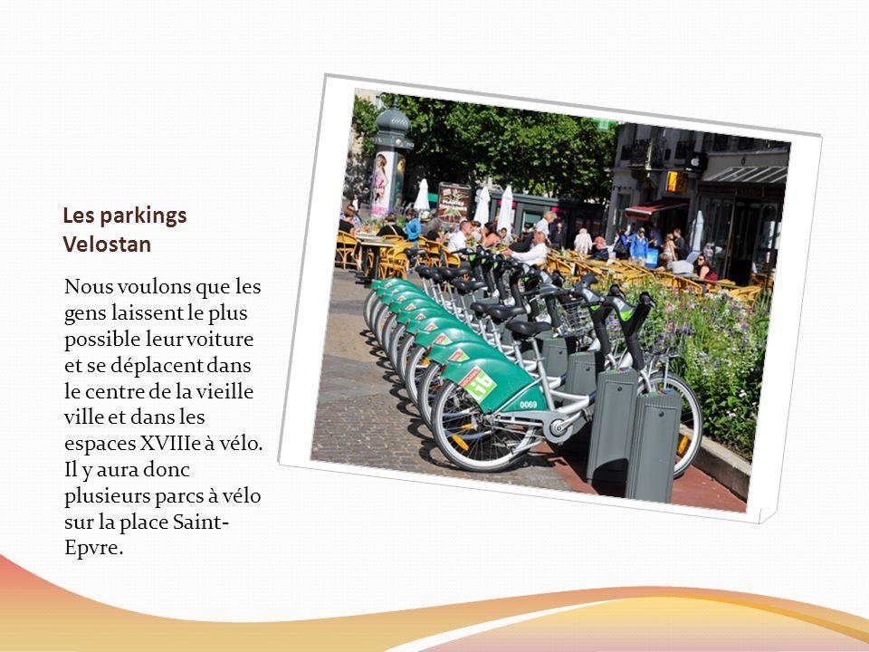Les parkings Velostan Nous voulons que les gens laissent le plus possible leur voiture et se déplacent dans le centre de la vieille ville et dans les espaces XVIIIe à vélo.