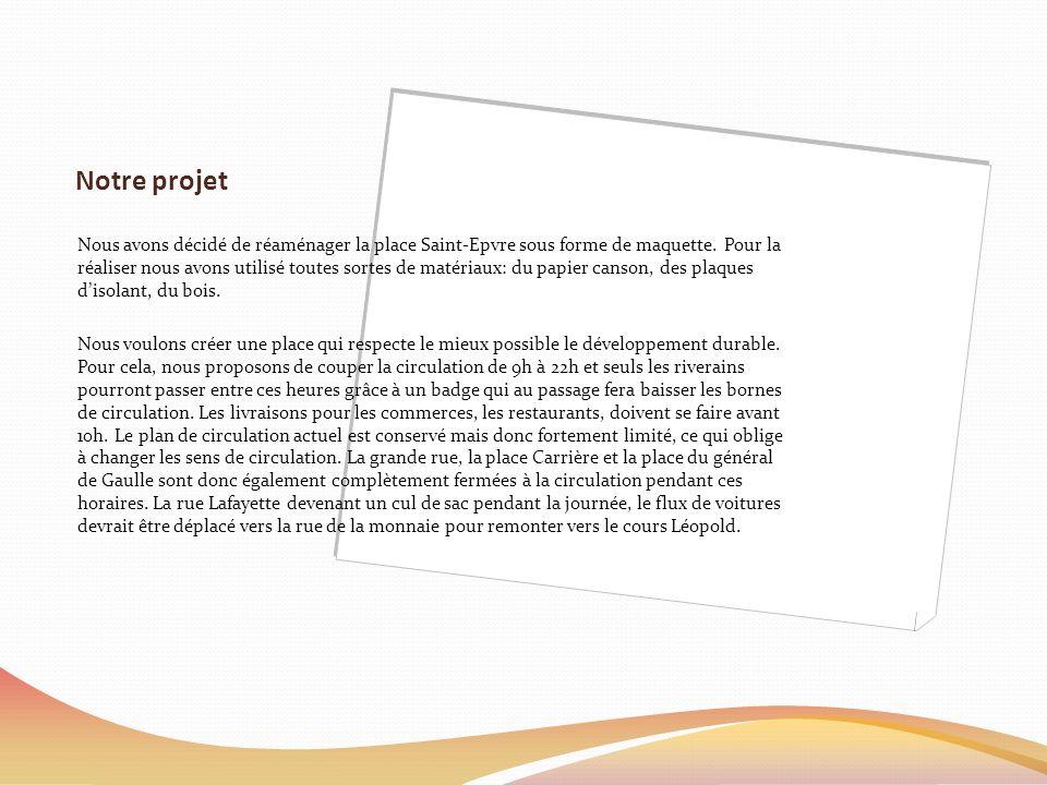 Notre projet Nous avons décidé de réaménager la place Saint-Epvre sous forme de maquette.