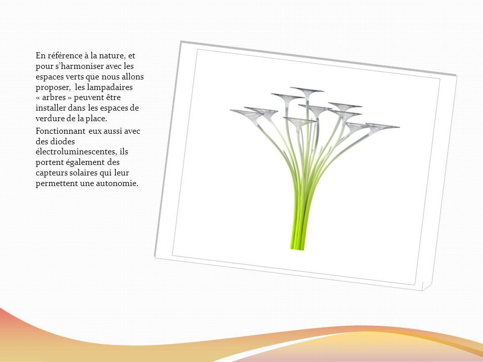 En référence à la nature, et pour sharmoniser avec les espaces verts que nous allons proposer, les lampadaires « arbres » peuvent être installer dans les espaces de verdure de la place.