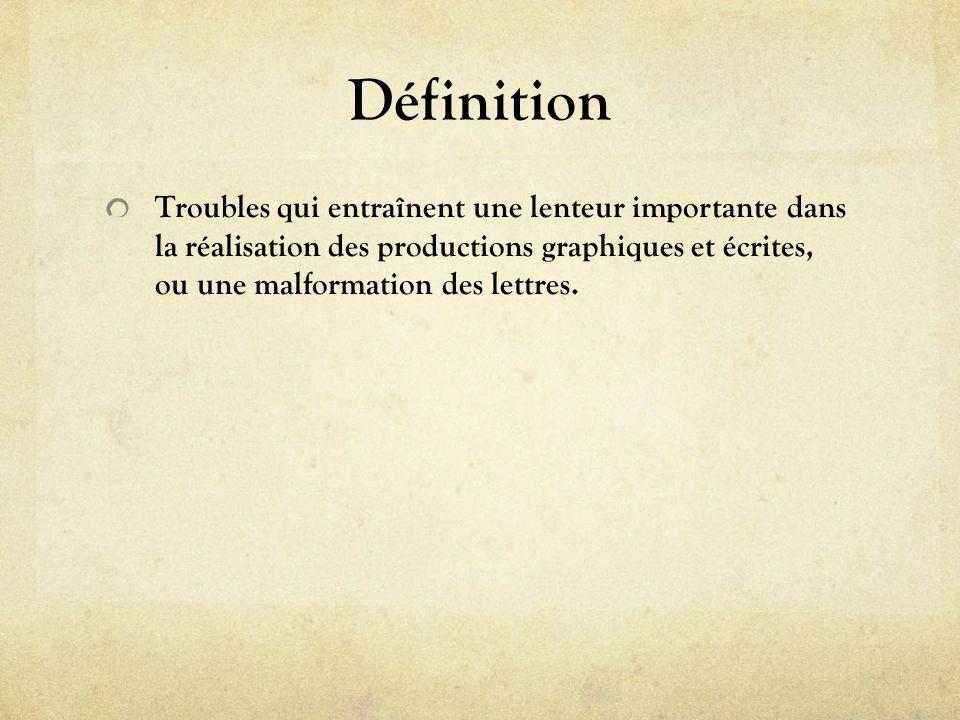 Définition Troubles qui entraînent une lenteur importante dans la réalisation des productions graphiques et écrites, ou une malformation des lettres.