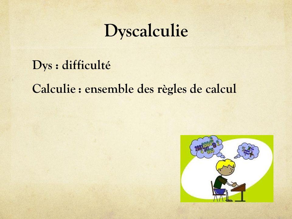 Dyscalculie Dys : difficulté Calculie : ensemble des règles de calcul