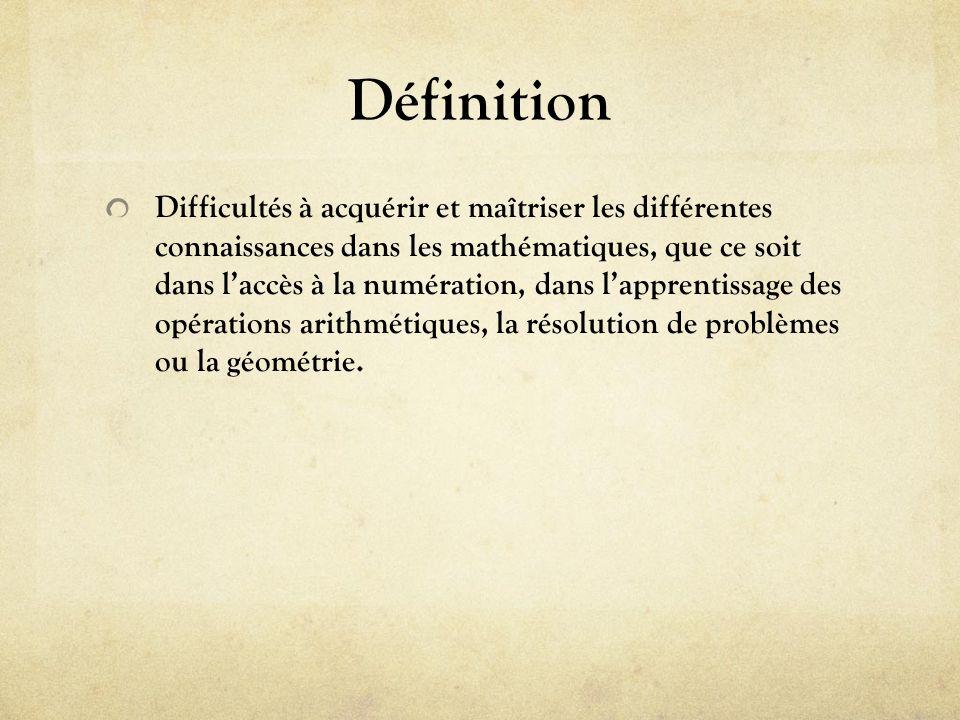 Définition Difficultés à acquérir et maîtriser les différentes connaissances dans les mathématiques, que ce soit dans laccès à la numération, dans lap