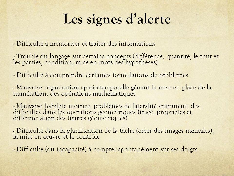 Les signes dalerte - Difficulté à mémoriser et traiter des informations - Trouble du langage sur certains concepts (différence, quantité, le tout et l