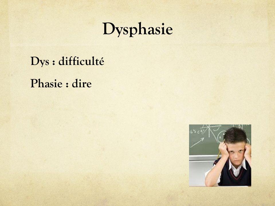 Dysphasie Dys : difficulté Phasie : dire