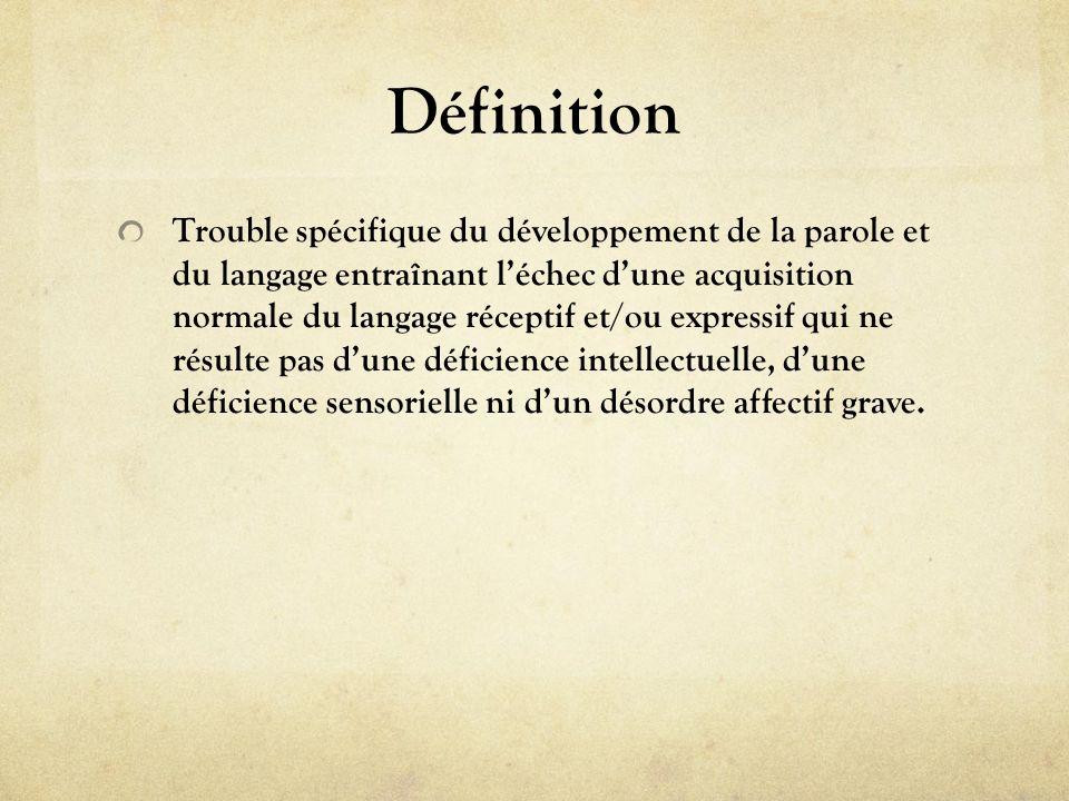 Définition Trouble spécifique du développement de la parole et du langage entraînant léchec dune acquisition normale du langage réceptif et/ou express