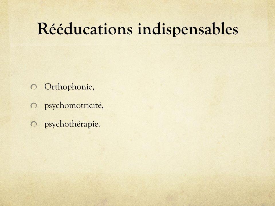 Rééducations indispensables Orthophonie, psychomotricité, psychothérapie.