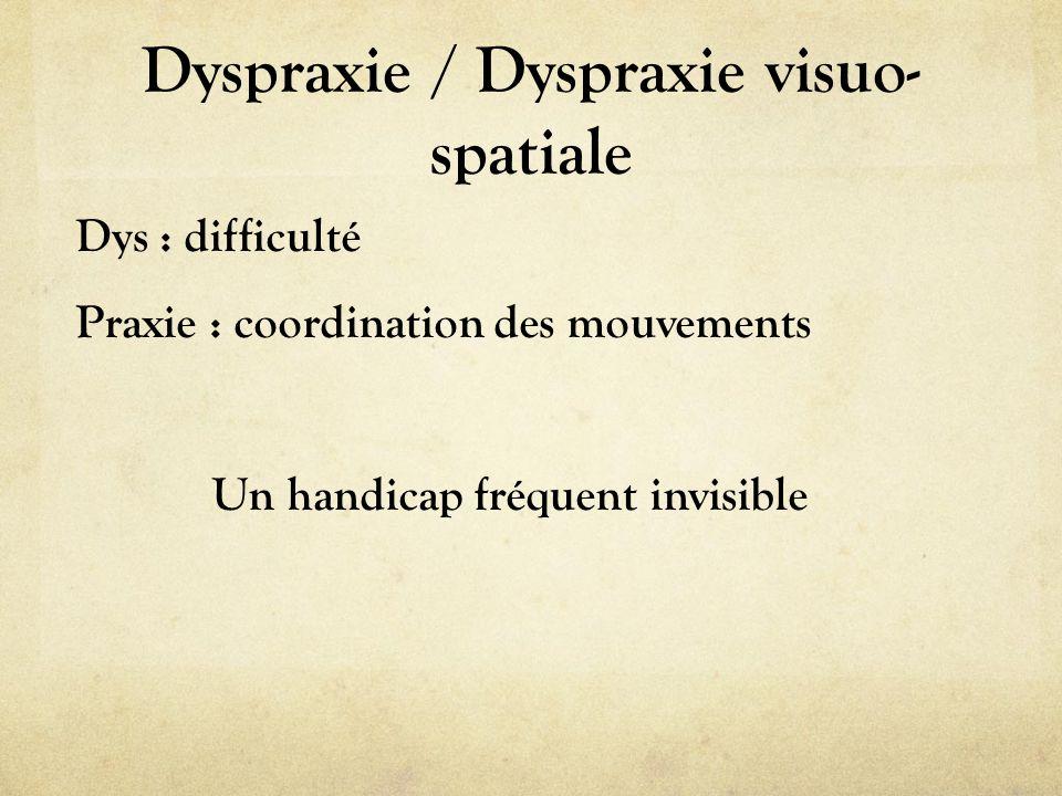 Dyspraxie / Dyspraxie visuo- spatiale Dys : difficulté Praxie : coordination des mouvements Un handicap fréquent invisible
