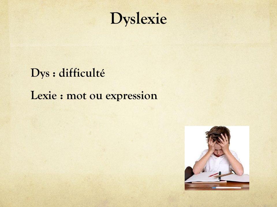 Dyslexie Dys : difficulté Lexie : mot ou expression