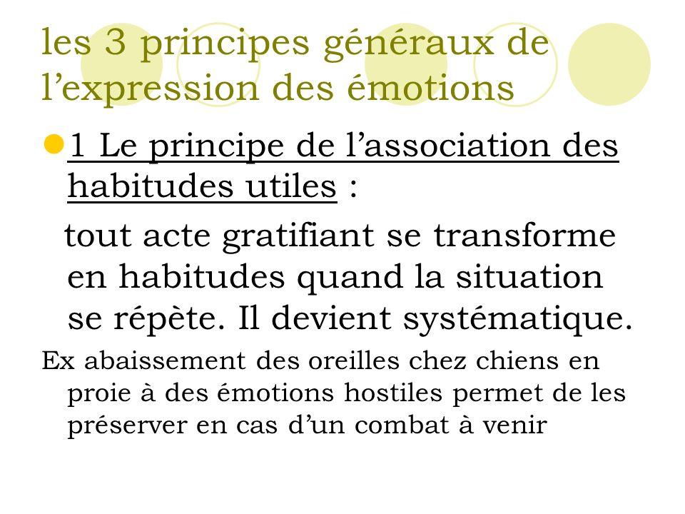 les 3 principes généraux de lexpression des émotions 1 Le principe de lassociation des habitudes utiles : tout acte gratifiant se transforme en habitudes quand la situation se répète.