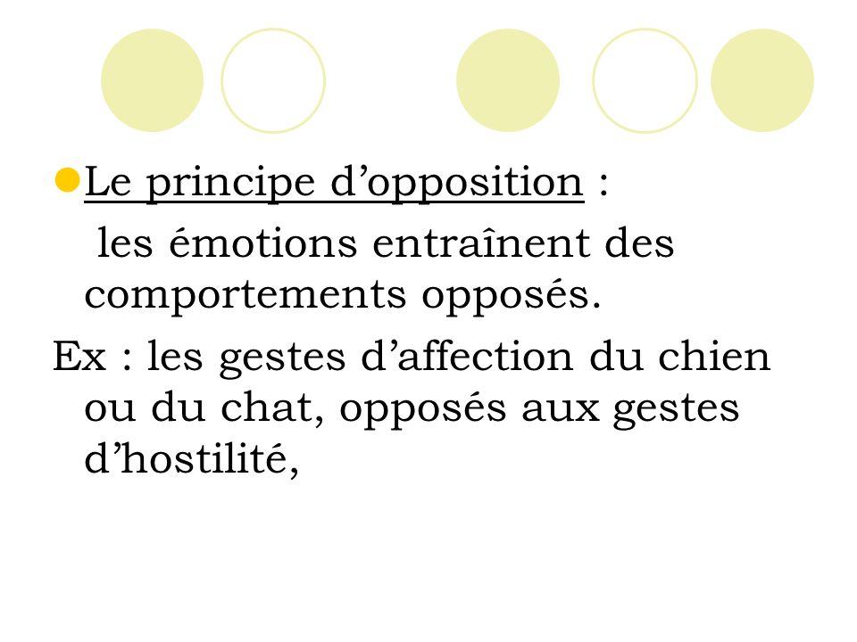 Le principe dopposition : les émotions entraînent des comportements opposés.
