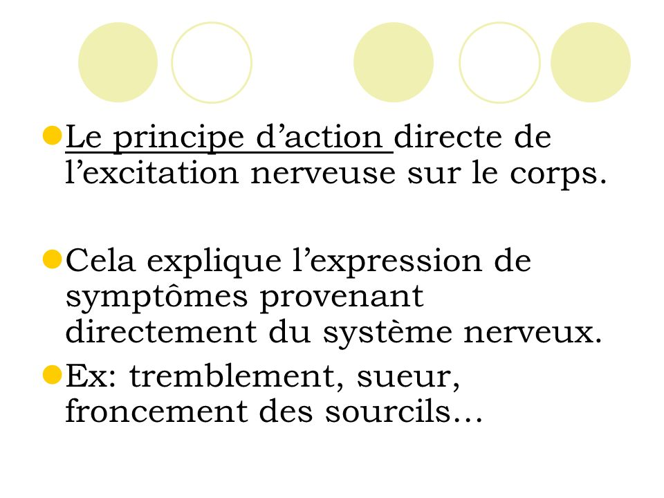 Le principe daction directe de lexcitation nerveuse sur le corps.