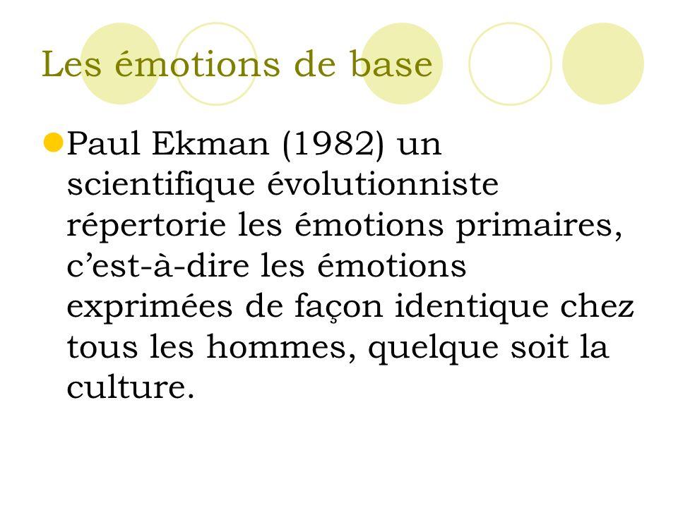 Les émotions de base Paul Ekman (1982) un scientifique évolutionniste répertorie les émotions primaires, cest-à-dire les émotions exprimées de façon identique chez tous les hommes, quelque soit la culture.