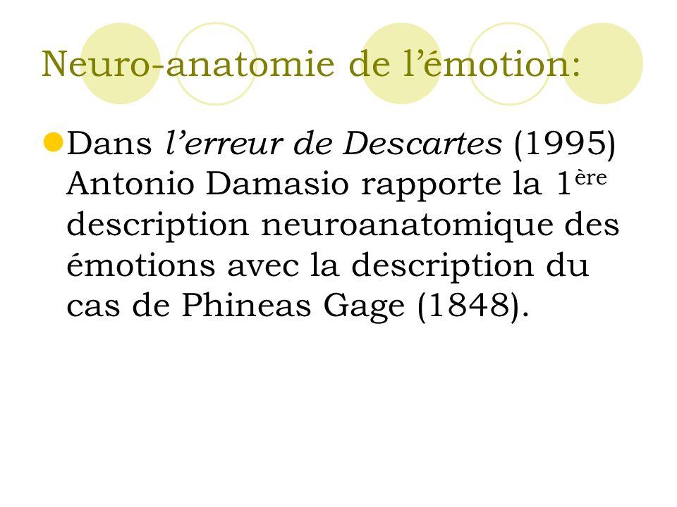 Neuro-anatomie de lémotion: Dans lerreur de Descartes (1995) Antonio Damasio rapporte la 1 ère description neuroanatomique des émotions avec la description du cas de Phineas Gage (1848).