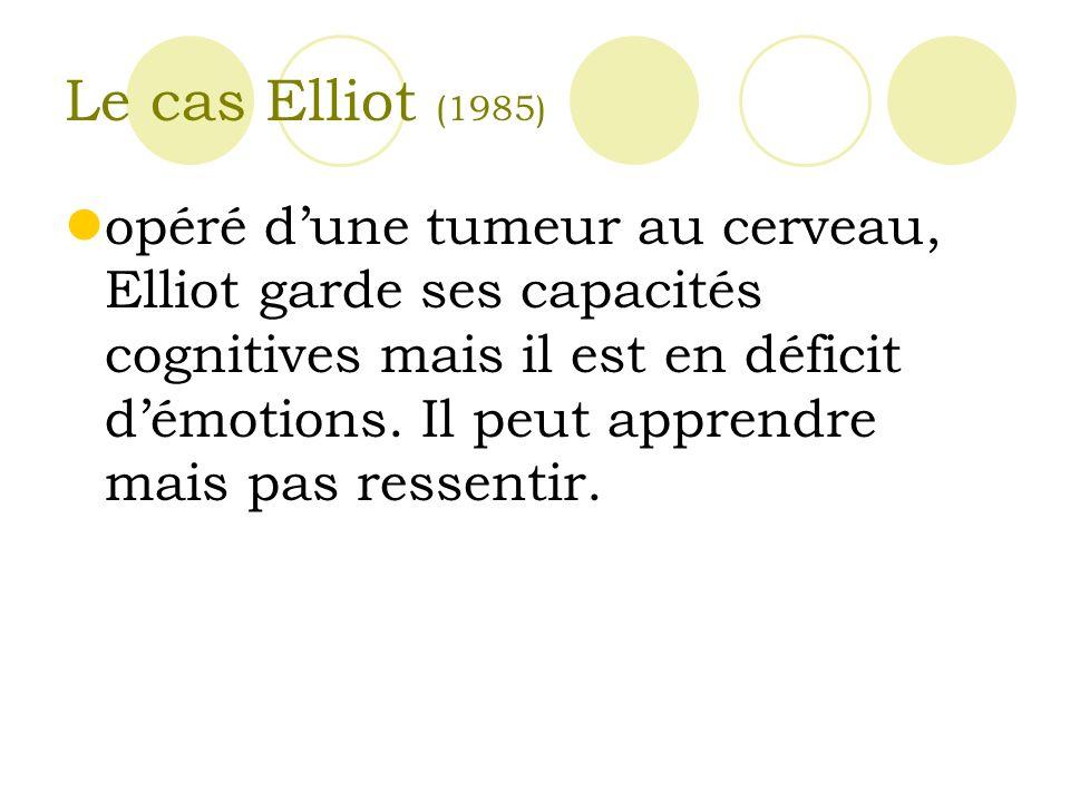 Le cas Elliot (1985) opéré dune tumeur au cerveau, Elliot garde ses capacités cognitives mais il est en déficit démotions.
