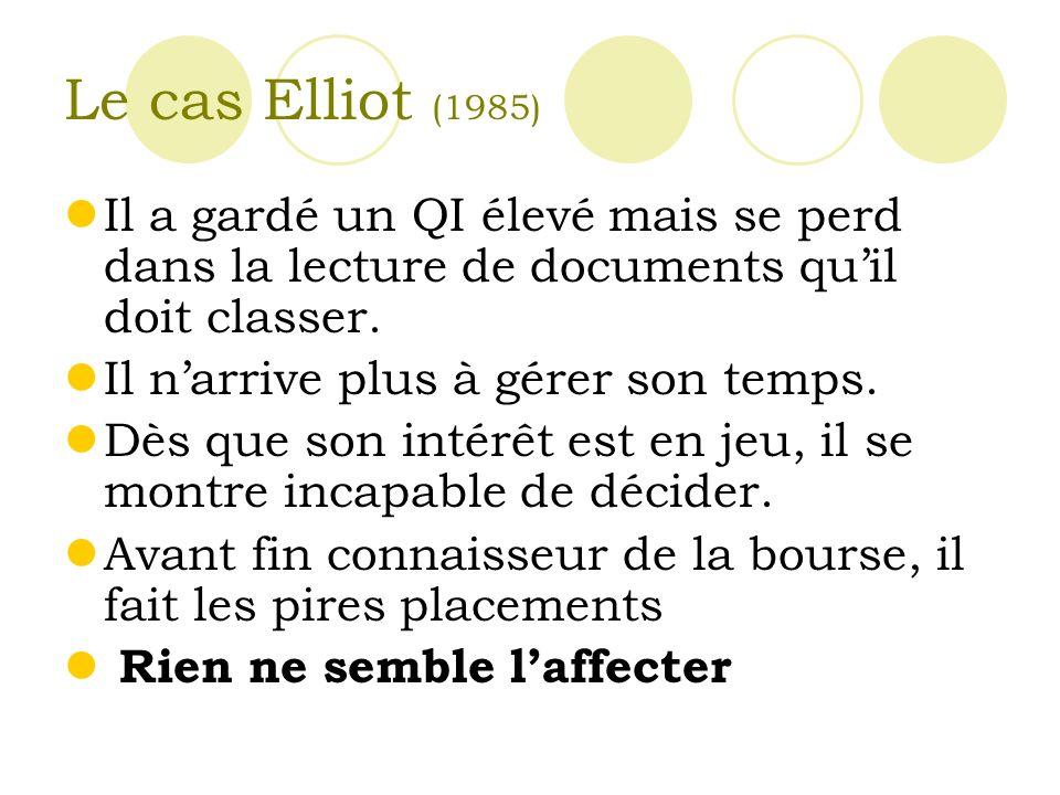 Le cas Elliot (1985) Il a gardé un QI élevé mais se perd dans la lecture de documents quil doit classer.