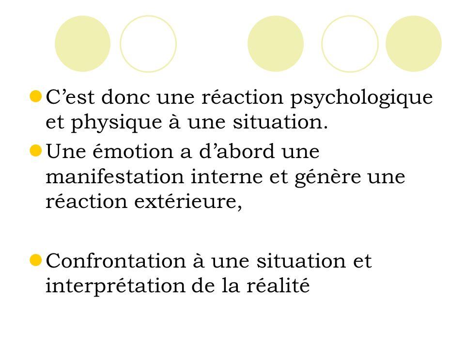 Cest donc une réaction psychologique et physique à une situation.