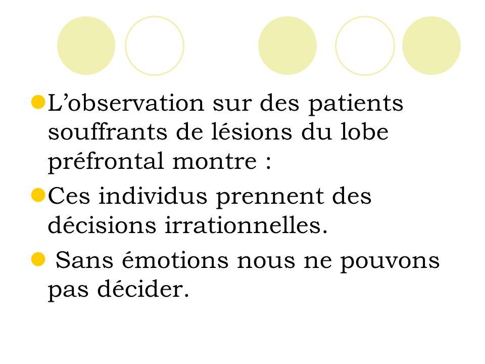 Lobservation sur des patients souffrants de lésions du lobe préfrontal montre : Ces individus prennent des décisions irrationnelles.