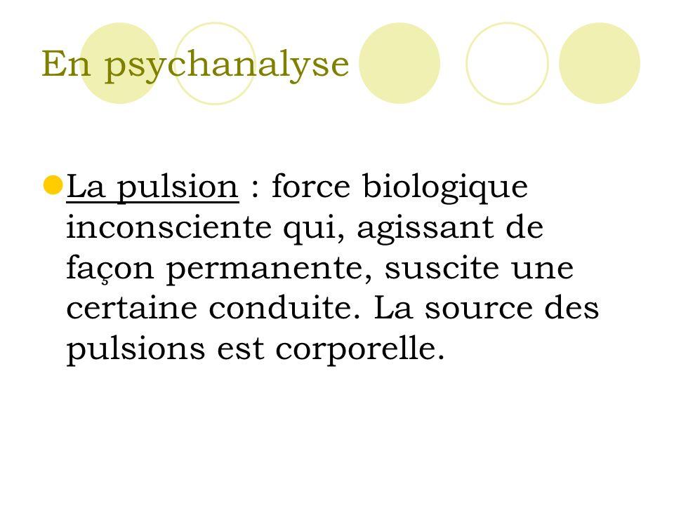 En psychanalyse La pulsion : force biologique inconsciente qui, agissant de façon permanente, suscite une certaine conduite.