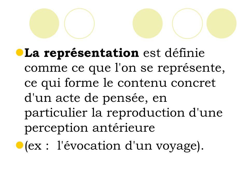 La représentation est définie comme ce que l on se représente, ce qui forme le contenu concret d un acte de pensée, en particulier la reproduction d une perception antérieure (ex : l évocation d un voyage).