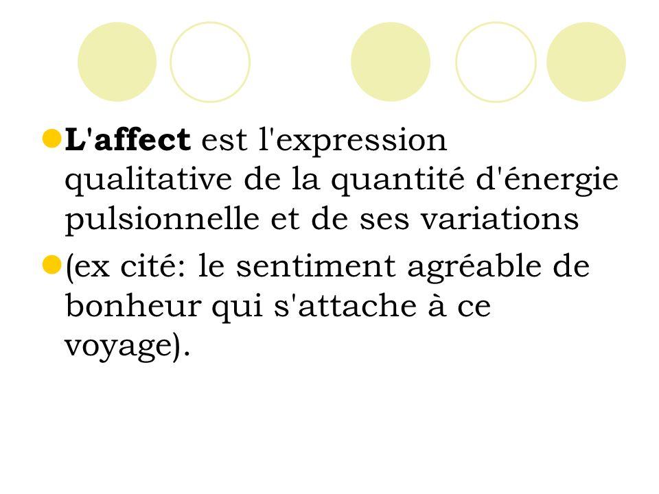 L affect est l expression qualitative de la quantité d énergie pulsionnelle et de ses variations (ex cité: le sentiment agréable de bonheur qui s attache à ce voyage).