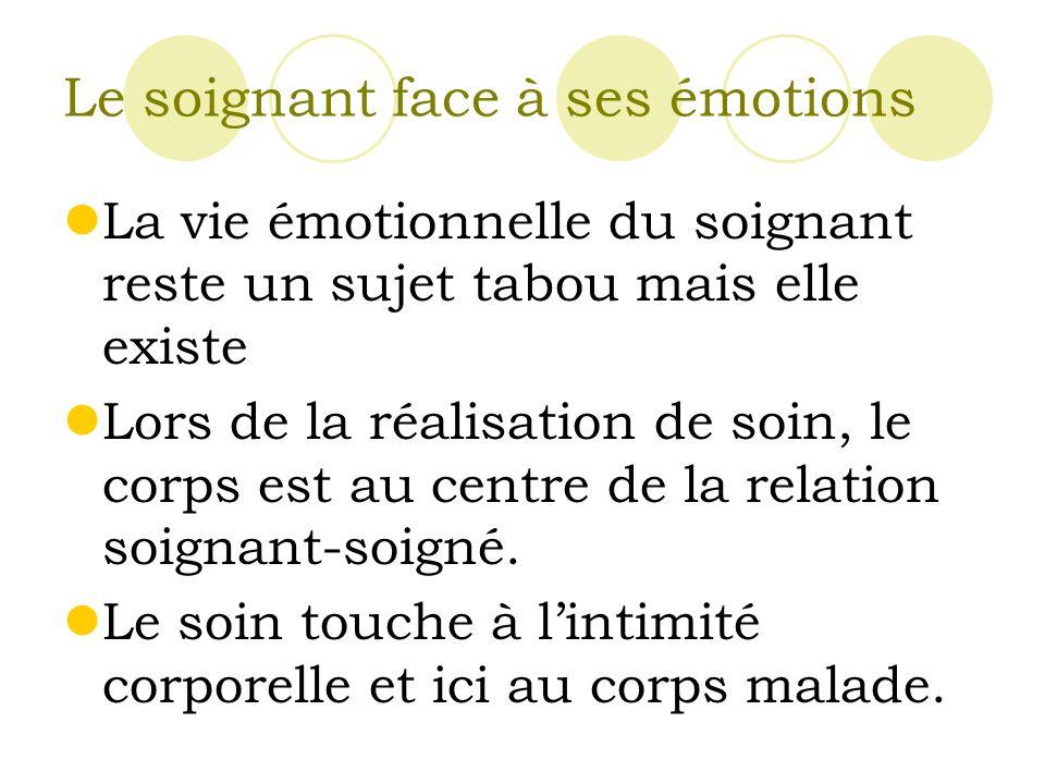 Le soignant face à ses émotions La vie émotionnelle du soignant reste un sujet tabou mais elle existe Lors de la réalisation de soin, le corps est au centre de la relation soignant-soigné.