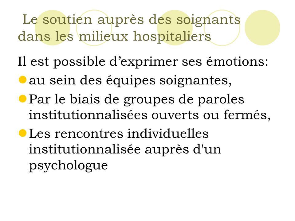 Le soutien auprès des soignants dans les milieux hospitaliers Il est possible dexprimer ses émotions: au sein des équipes soignantes, Par le biais de groupes de paroles institutionnalisées ouverts ou fermés, Les rencontres individuelles institutionnalisée auprès d un psychologue