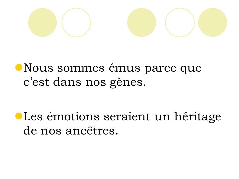 Nous sommes émus parce que cest dans nos gènes. Les émotions seraient un héritage de nos ancêtres.