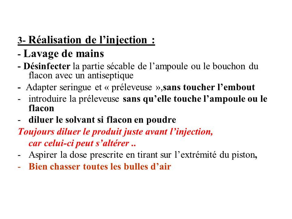 3- Réalisation de linjection : - Lavage de mains - Désinfecter la partie sécable de lampoule ou le bouchon du flacon avec un antiseptique - Adapter se