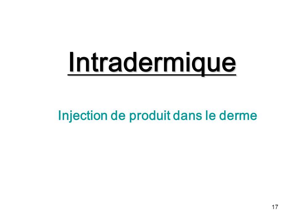 17 Intradermique Injection de produit dans le derme
