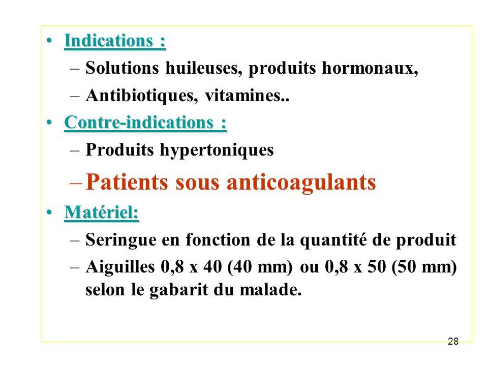 28 Indications :Indications : –Solutions huileuses, produits hormonaux, –Antibiotiques, vitamines.. Contre-indications :Contre-indications : –Produits