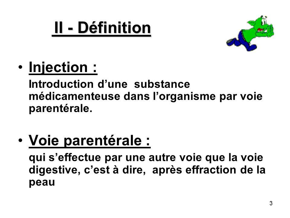 3 II - Définition Injection : Introduction dune substance médicamenteuse dans lorganisme par voie parentérale. Voie parentérale : qui seffectue par un