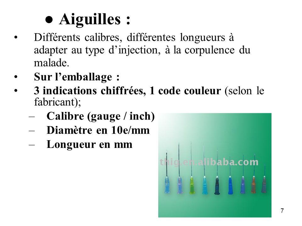 8 Présentations des aiguilles ID 26 G 0,45 x 10 orange SC 25 G 0,45 x 16 marron, noir IV 23 G 0,60 x 25 bleu IM 21 G 0,80 x 40/50 vert, jaune P rél.