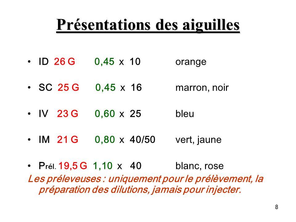 8 Présentations des aiguilles ID 26 G 0,45 x 10 orange SC 25 G 0,45 x 16 marron, noir IV 23 G 0,60 x 25 bleu IM 21 G 0,80 x 40/50 vert, jaune P rél. 1