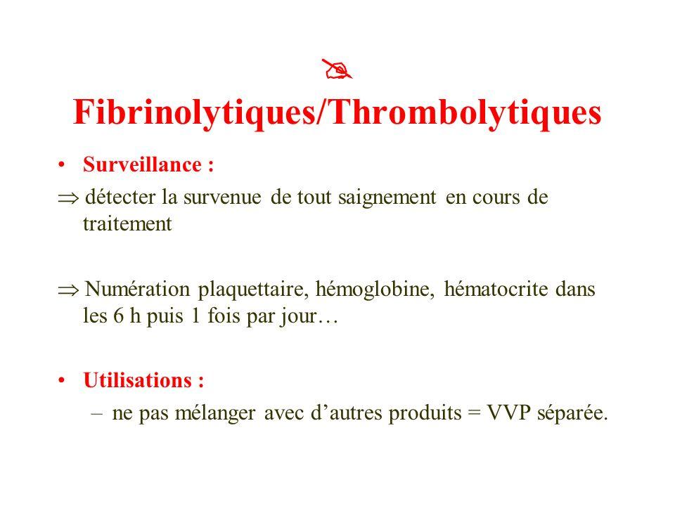Surveillance : détecter la survenue de tout saignement en cours de traitement Numération plaquettaire, hémoglobine, hématocrite dans les 6 h puis 1 fo