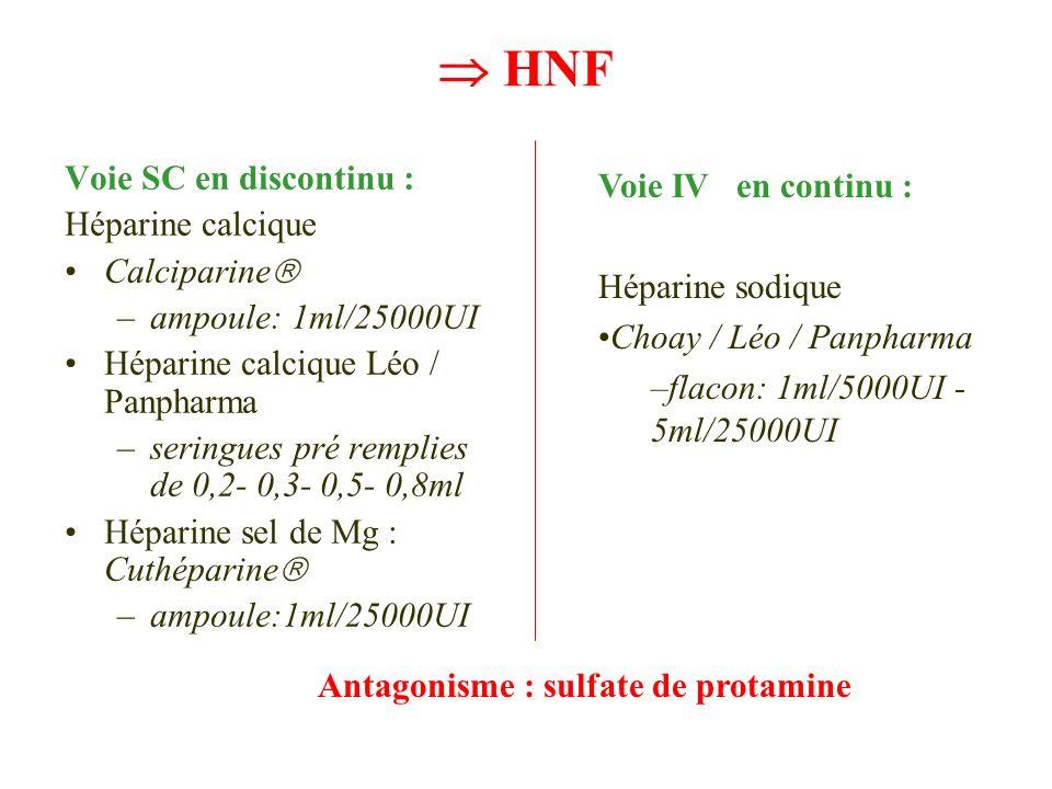 HNF Voie SC en discontinu : Héparine calcique Calciparine –ampoule: 1ml/25000UI Héparine calcique Léo / Panpharma –seringues pré remplies de 0,2- 0,3-