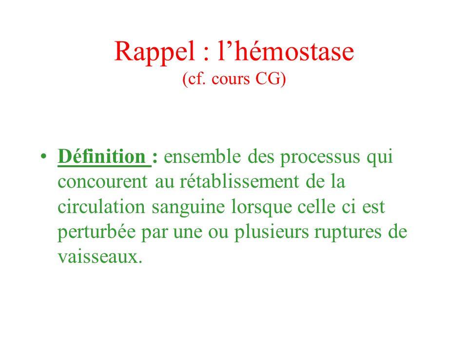 Rappel : lhémostase (cf. cours CG) Définition : ensemble des processus qui concourent au rétablissement de la circulation sanguine lorsque celle ci es
