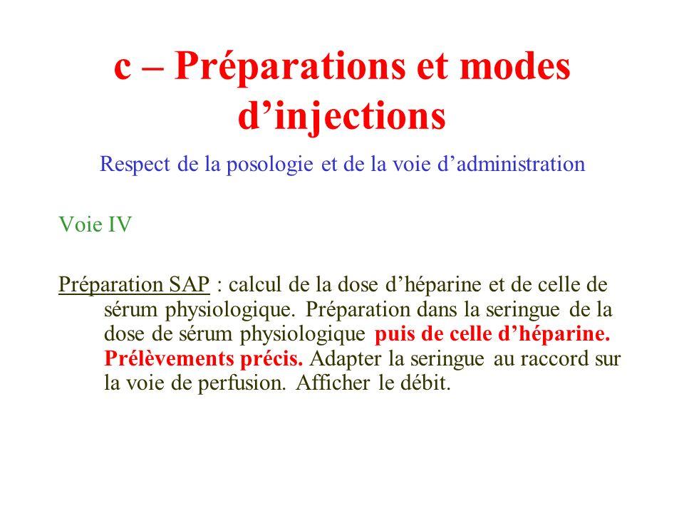 c – Préparations et modes dinjections Respect de la posologie et de la voie dadministration Voie IV Préparation SAP : calcul de la dose dhéparine et d
