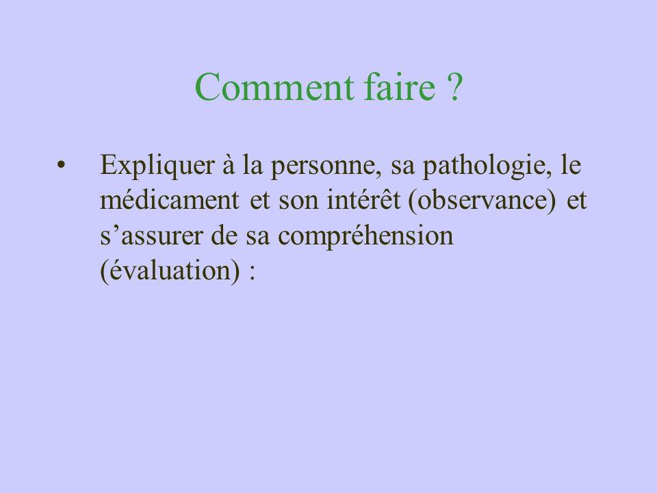 Comment faire ? Expliquer à la personne, sa pathologie, le médicament et son intérêt (observance) et sassurer de sa compréhension (évaluation) :
