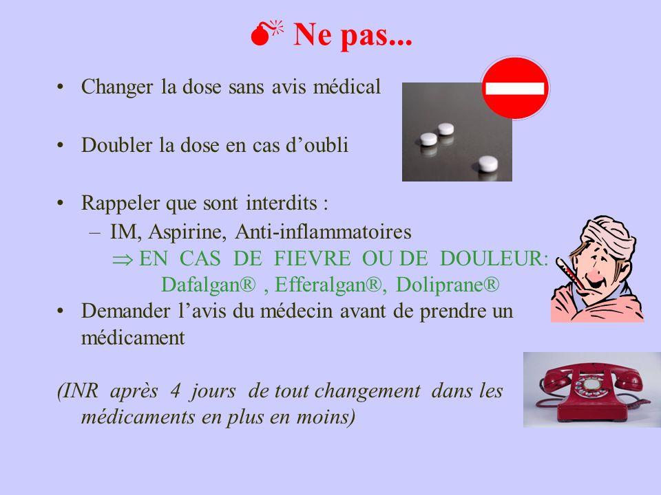 Ne pas... Changer la dose sans avis médical Doubler la dose en cas doubli Rappeler que sont interdits : –IM, Aspirine, Anti-inflammatoires EN CAS DE F