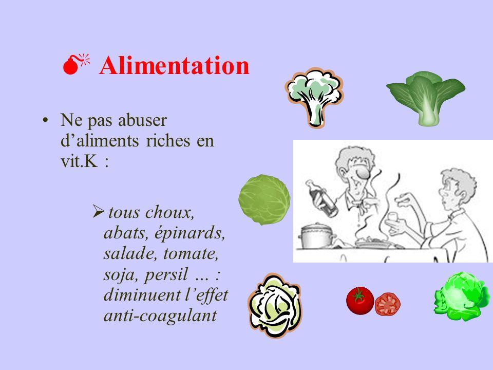 Alimentation Ne pas abuser daliments riches en vit.K : tous choux, abats, épinards, salade, tomate, soja, persil … : diminuent leffet anti-coagulant