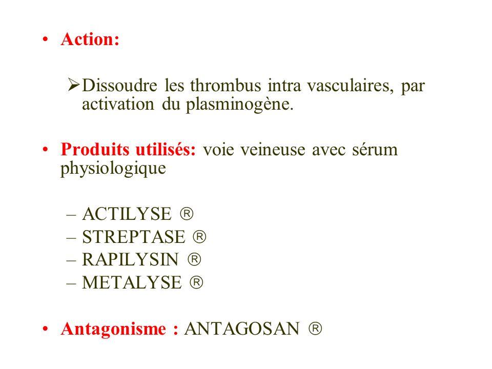 Action: Dissoudre les thrombus intra vasculaires, par activation du plasminogène. Produits utilisés: voie veineuse avec sérum physiologique –ACTILYSE