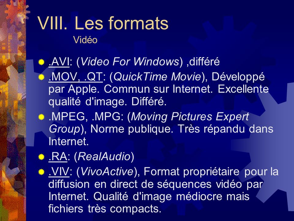 .AVI: (Video For Windows),différé.MOV,.QT: (QuickTime Movie), Développé par Apple. Commun sur Internet. Excellente qualité d'image. Différé..MPEG,.MPG